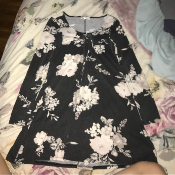 About A Girl Dresses & Skirts - cute black floral long sleeve dress